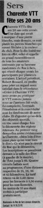 Article Charente Libre - Sers 2010 - 20 ans